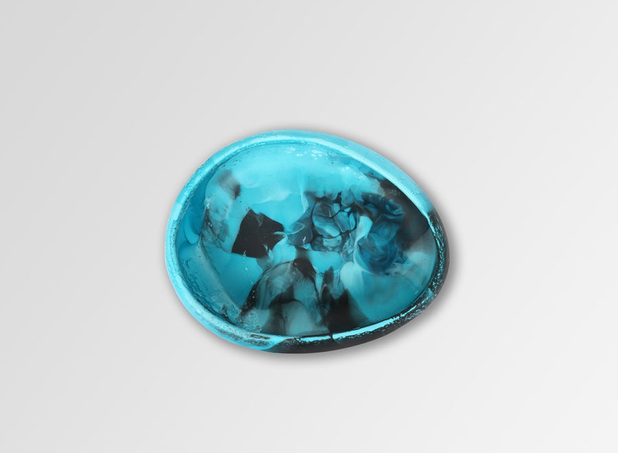 Small Resin Rock Bowl - Dark Turquoise