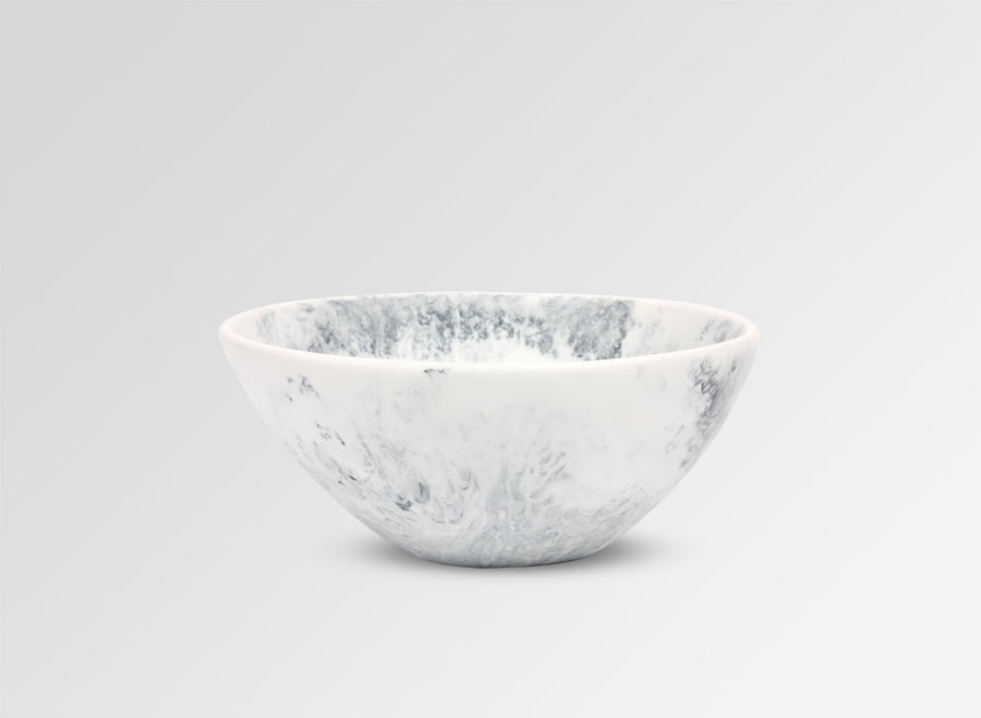Small Resin Ball Bowl - White Marble
