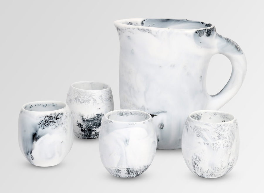 Large Resin Rock Cup - White Marble
