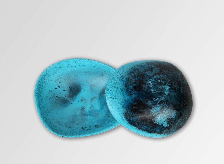 Resin Volcanic Jar - Dark Turquoise