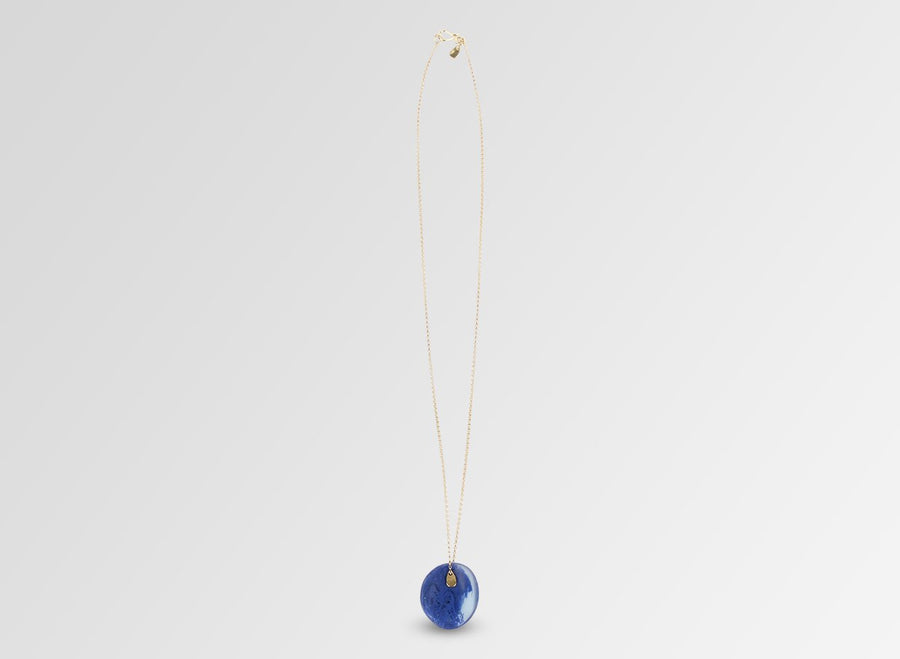 Resin Wave Pendant on Chain - Cobalt