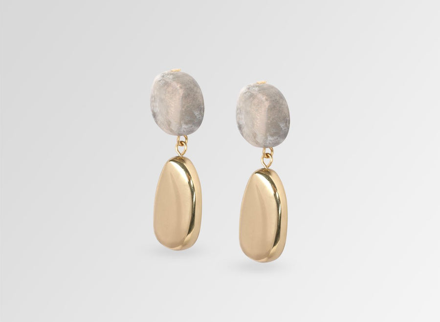 Brass Mineral Short Drop Earrings - Sandy Pearl