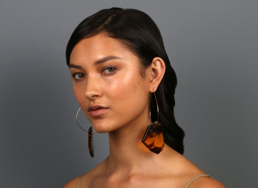 Large Crystallised Earrings on Large Hoops - Tortoiseshell