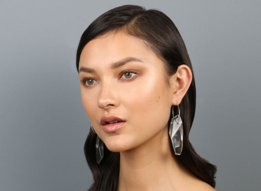 Long Crystallised Earrings on Small Hoops - Clear