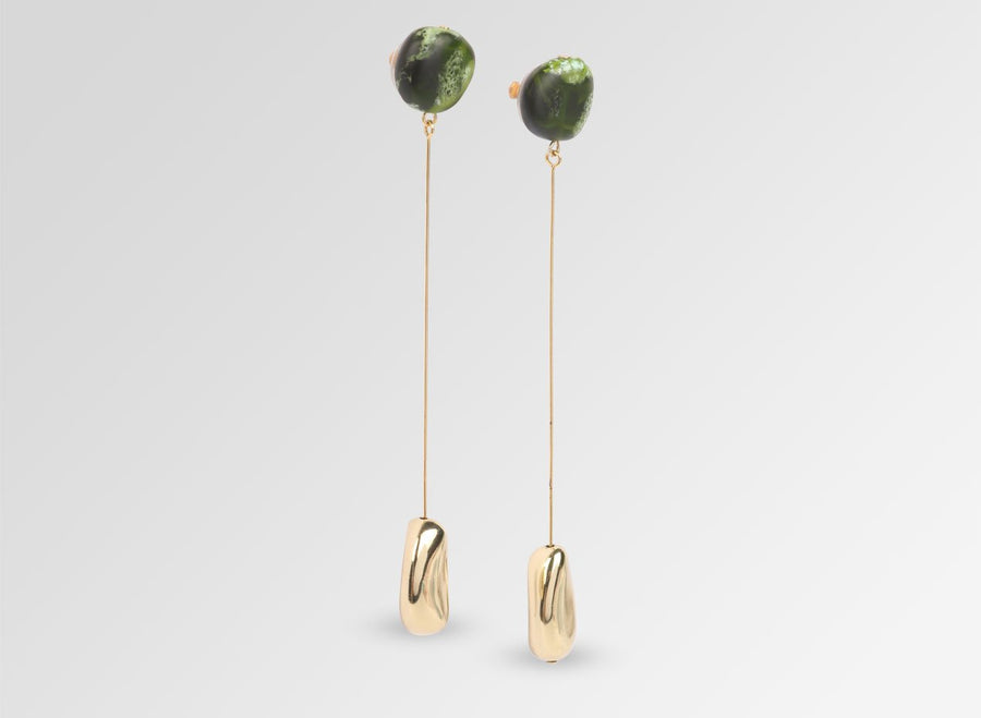 Mineral Long Drop Earrings - Malachite
