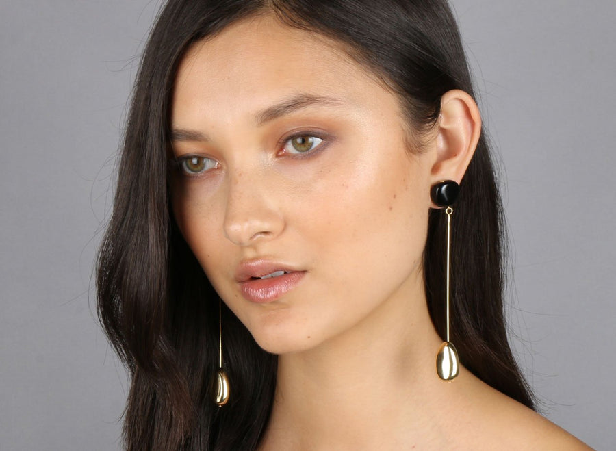 Mineral Long Drop Earrings - Black