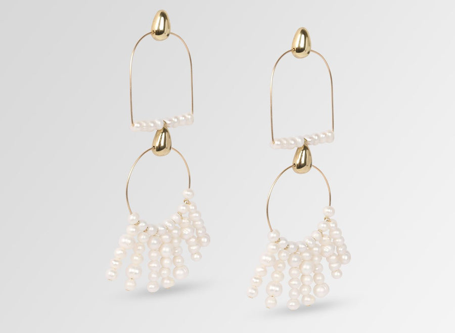 Long Goddess Pearl Earrings