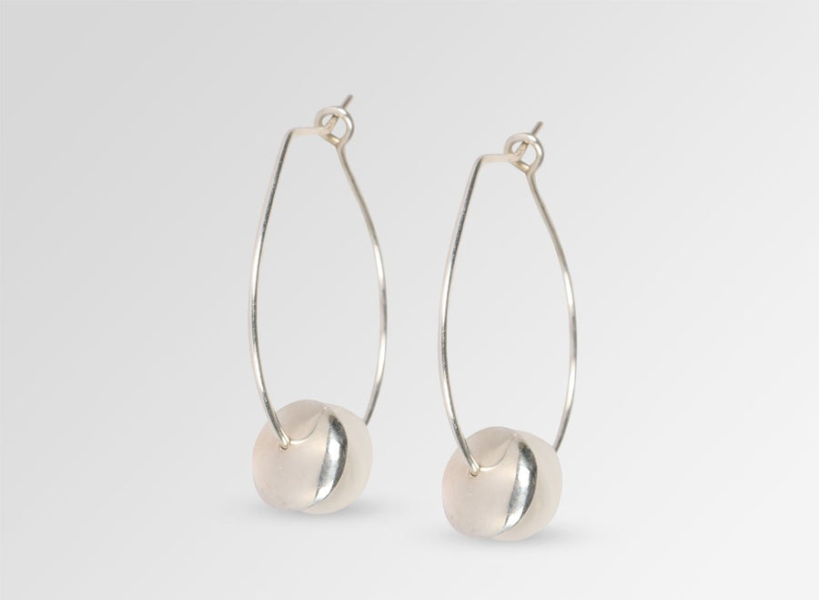 Pearl on Wire Hoop Earrings - Silver
