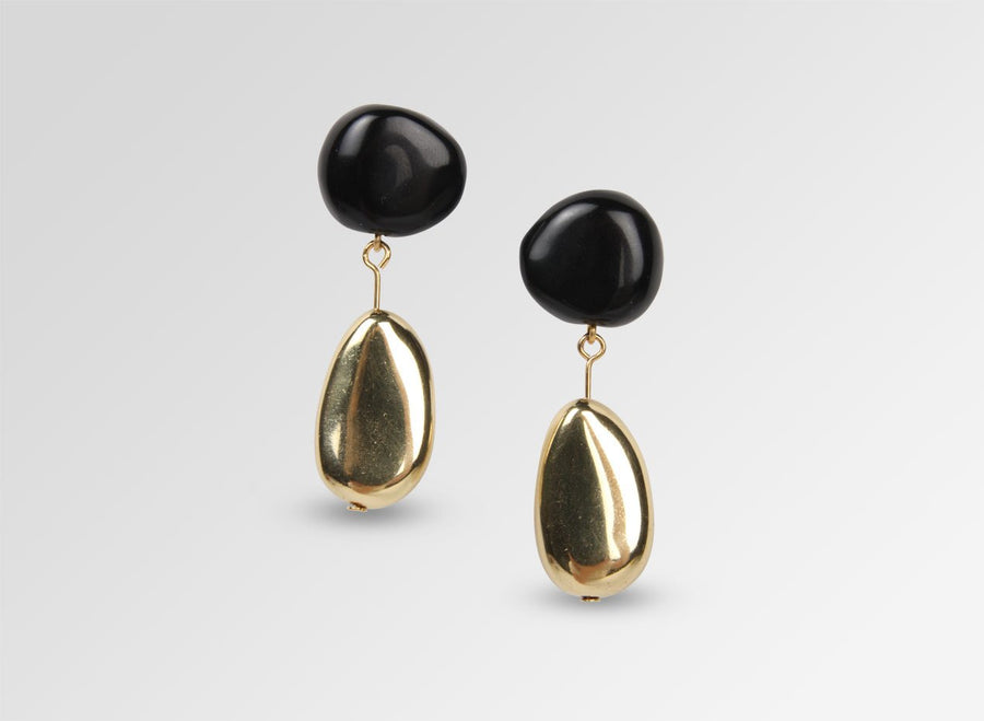 Brass Mineral Short Drop Earrings - Black