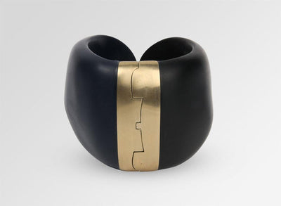 Resin Bold Stone Cuff - Black