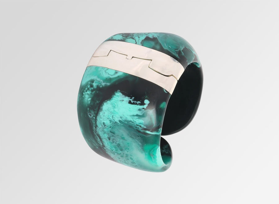 Resin Bold Stone Cuff with Silver Hinge - Forest