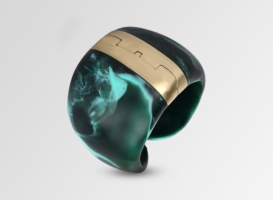 Resin Bold Stone Cuff - Forest