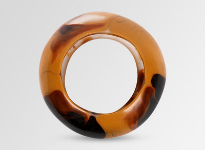 Large Resin Boulder Bangle - Polished Clay Swirl