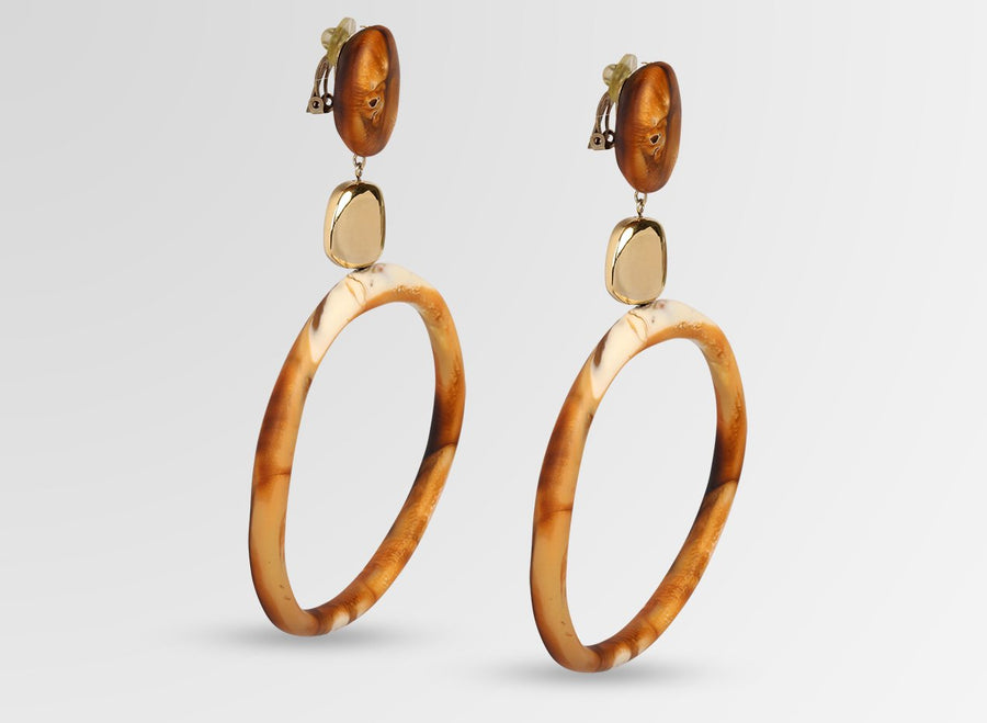 Brass Sand Hoop Drop Earrings - Dark Horn