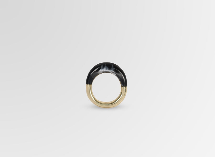 Small Horn Ring - Black Marble