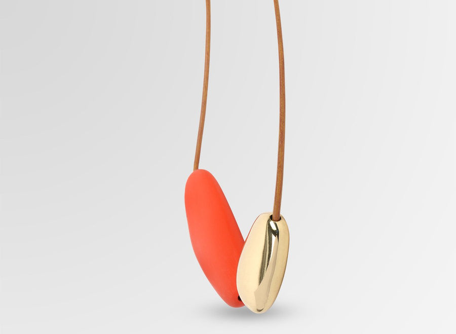 Resin and Brass Stone 1 Necklace - Coral