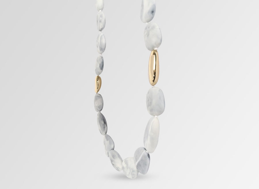 Brass Stone Necklace - White Marble