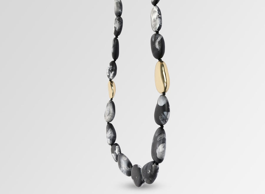 Brass Stone Necklace - Black Marble