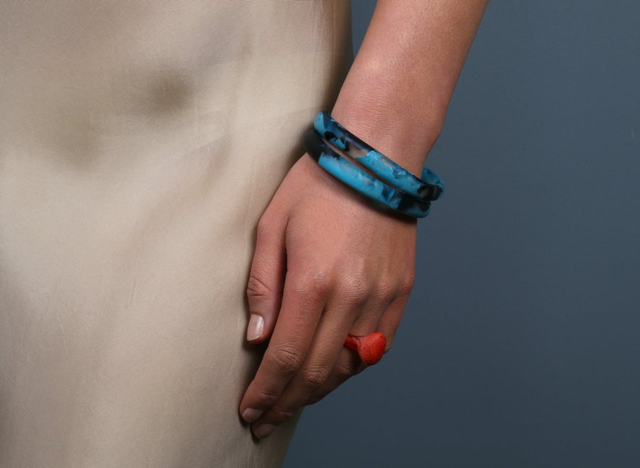 Classic Resin Wishbone Bangle - Dark Turquoise