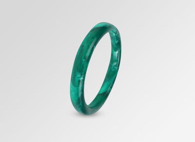 Classic Resin Wishbone Bangle - Emerald Swirl
