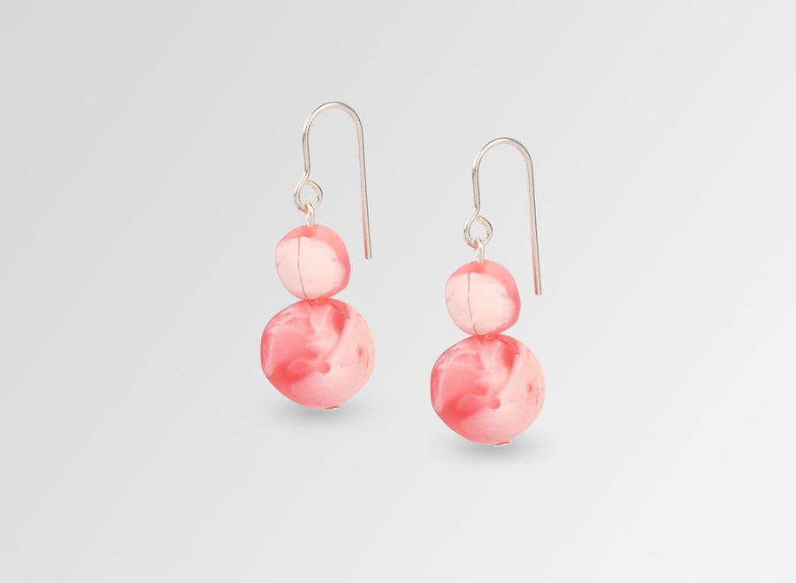 Resin Double Ball on Wire Earrings - Pink Guava