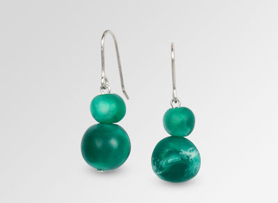 Resin Double Ball on Wire Earrings - Emerald Swirl