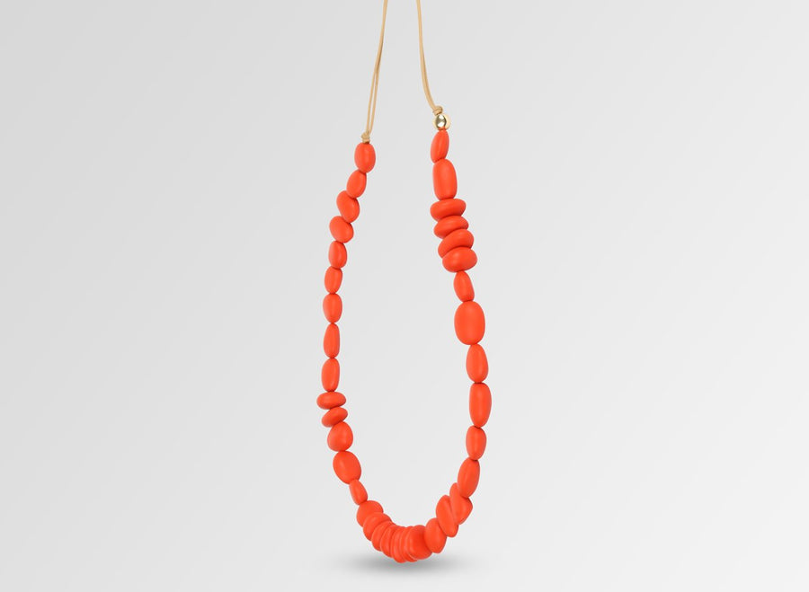 Classic Resin Earth Half Necklace - Coral