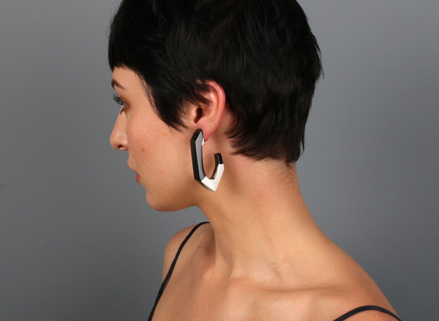 Large Resin Carved Loop Earrings - Chalk Dot on Black