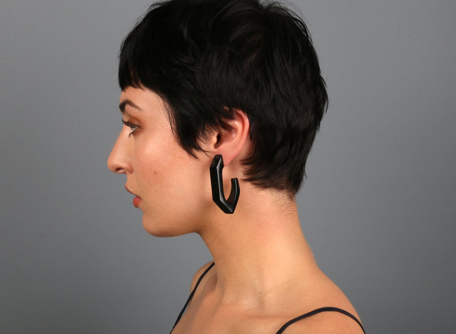 Large Resin Carved Loop Earrings - Black