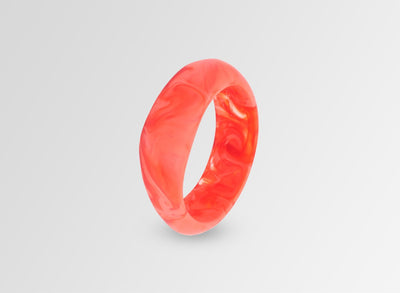 Large Resin Organic Bangle - Melon Swirl