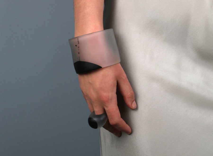 Long Resin Band Bangle - Black Dot on Charcoal