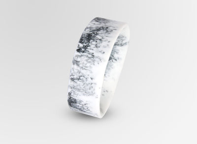 Large Resin Bones Bangle - White Marble