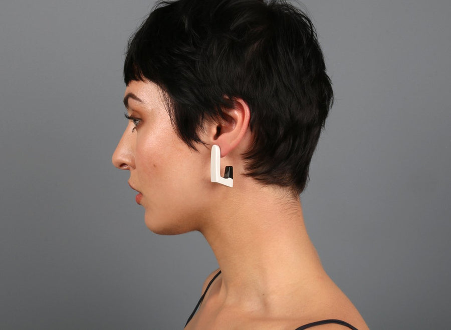 Medium Resin Carved Loop Earrings - Black Dot on Chalk
