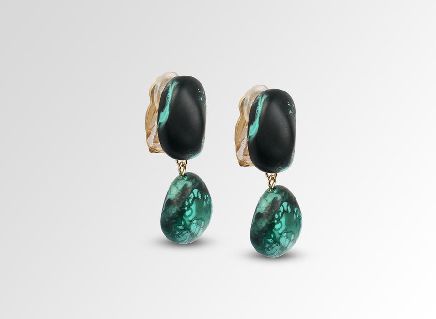 Resin Mineral 2 Drop Earrings - Forest