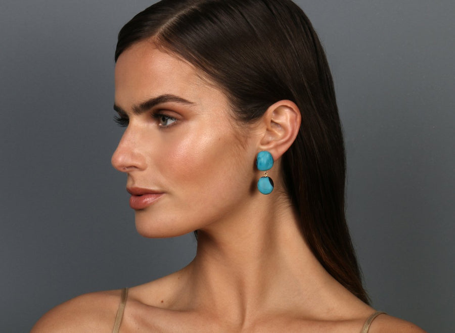 Resin Mineral 2 Drop Earrings - Dark Turquoise