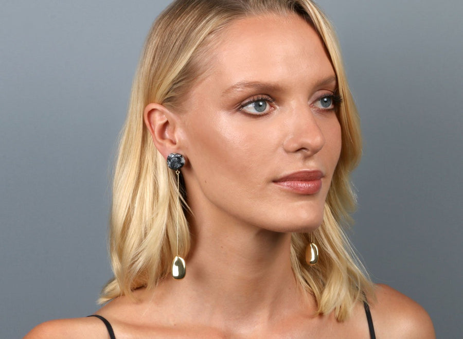 Mineral Long Drop Earrings - Black Marble