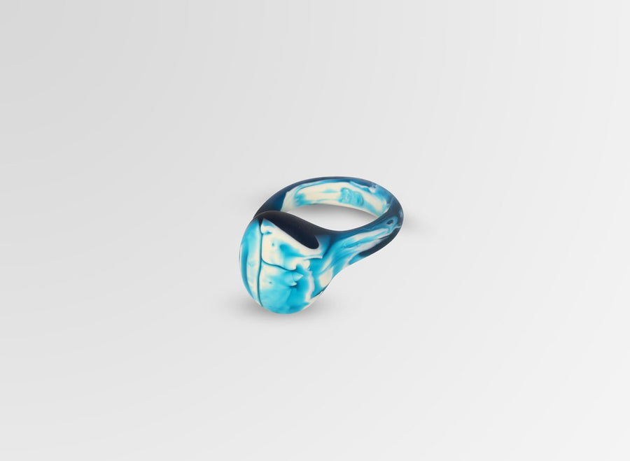 Resin Mineral Ring - Moody Blue