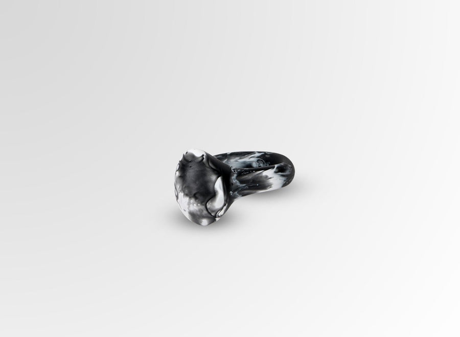 Resin Mineral Ring - Black Marble