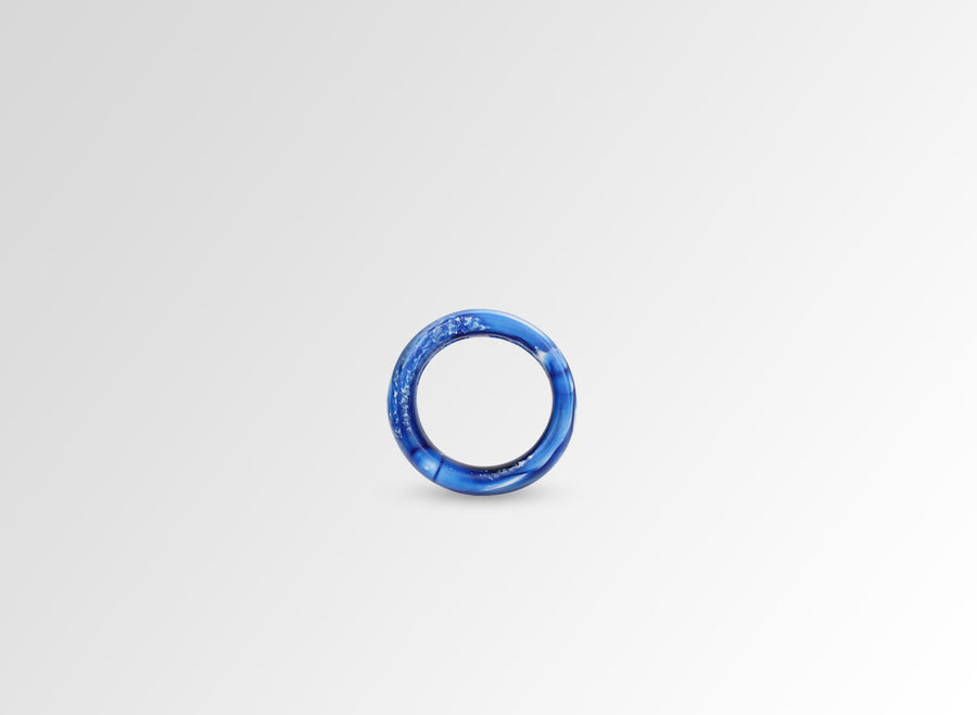 Resin Modern Tribal Band Ring - Lapis Swirl