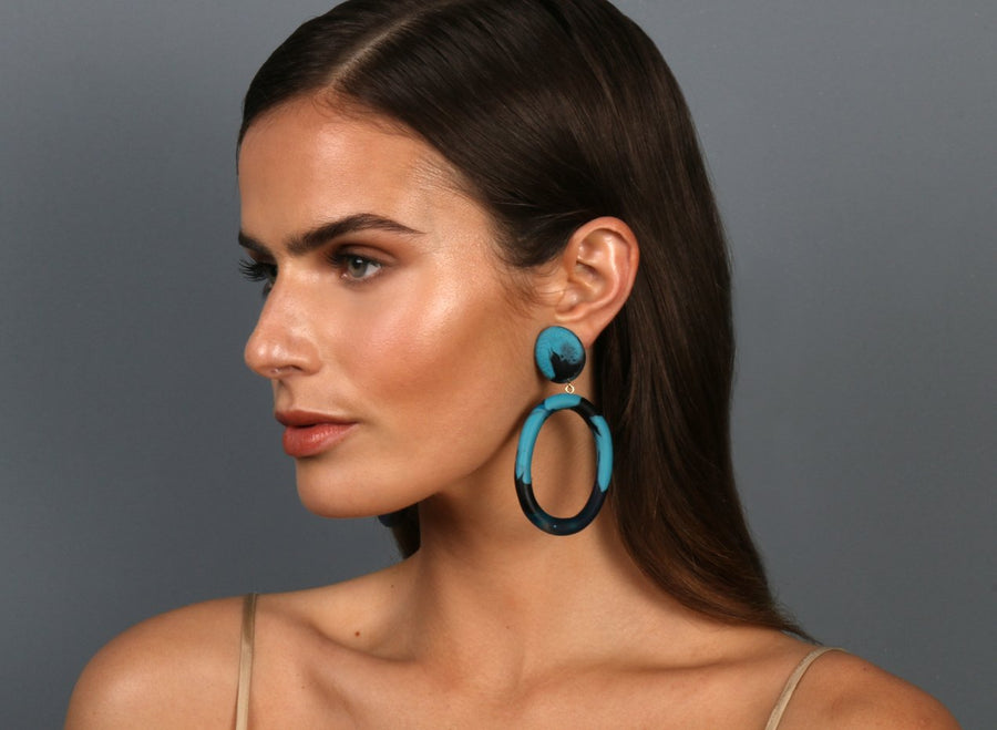 Resin Oval Drop Hoop Earrings - Dark Turquoise