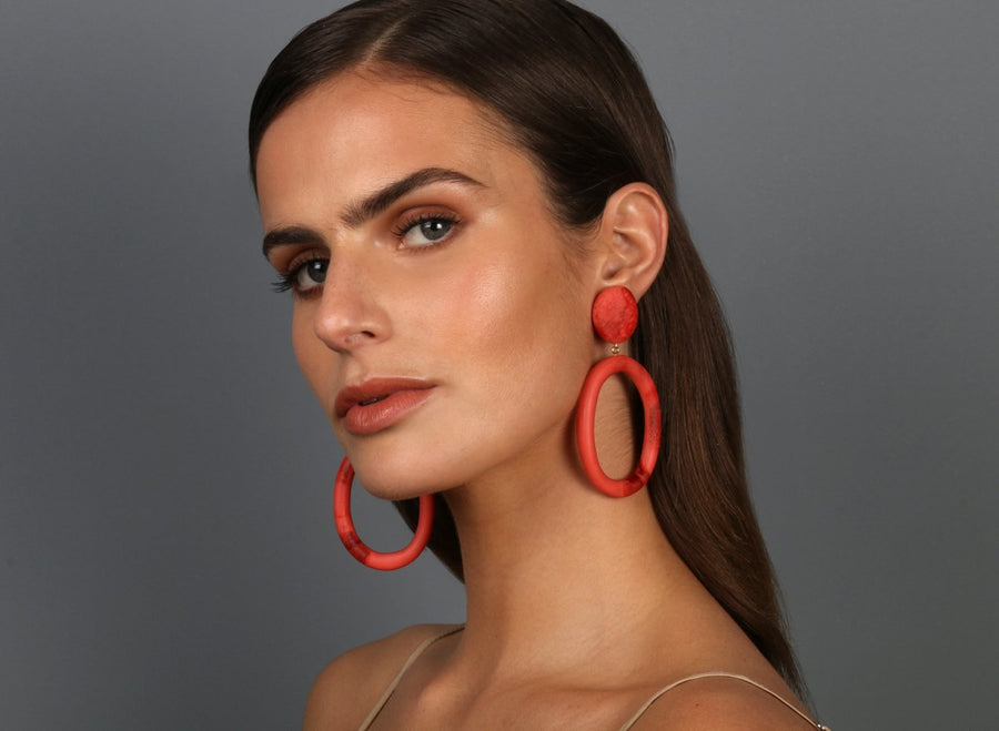 Resin Oval Drop Hoop Earrings - Melon Swirl