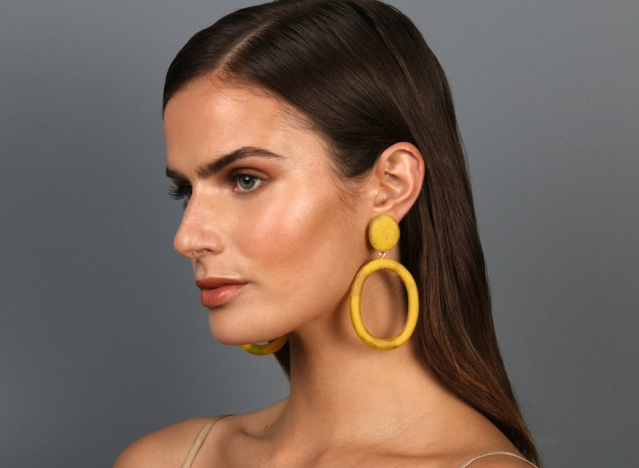 Resin Oval Drop Hoop Earrings - Honeycomb