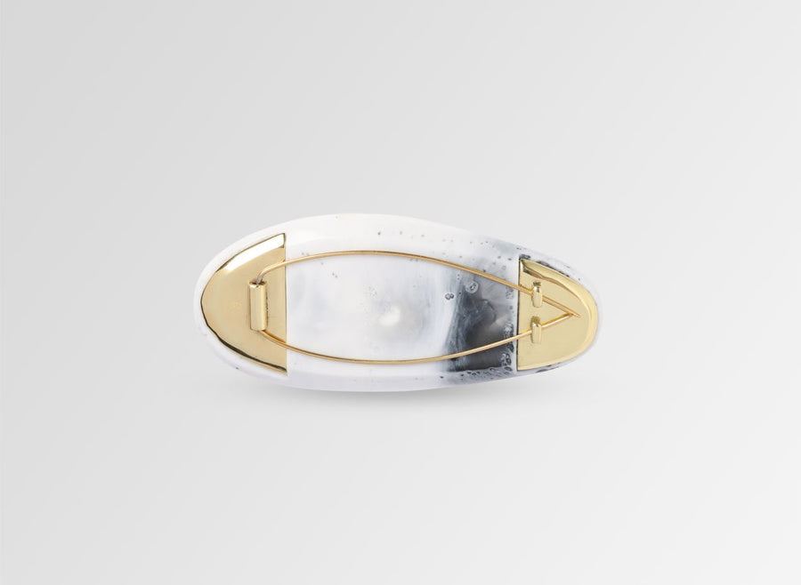 Pebble Brooch - White Marble