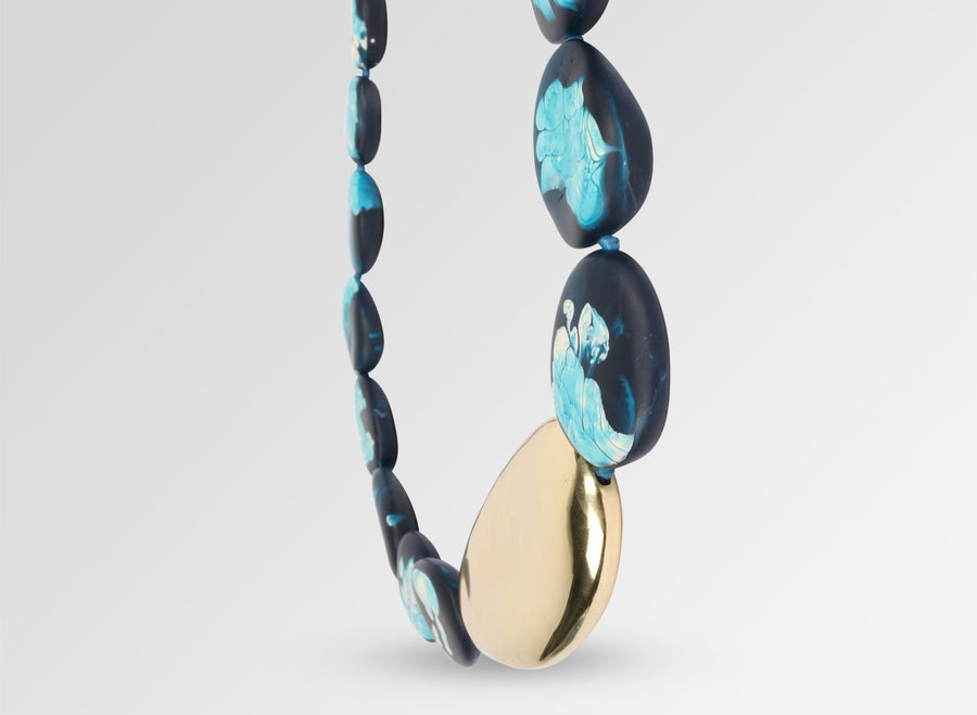 Brass Pebble Stone Necklace - Moody Blue