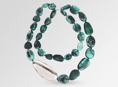 Silver Pebble Stone Necklace - Forest