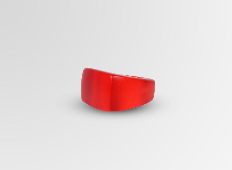 Resin Rectangle Ring - Red
