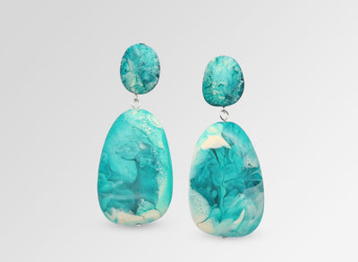 Resin River Rock 2 Drop Earrings - Lagoon