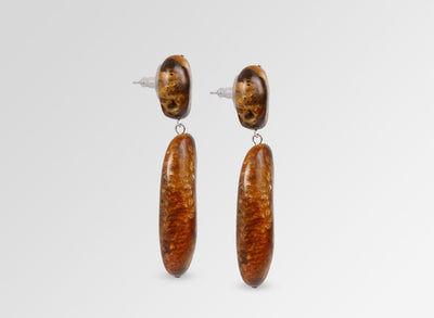 Resin River Rock Long 2 Drop Earrings - Dark Horn