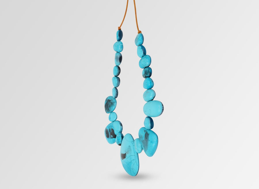 Resin Riverstone Necklace - Dark Turquoise