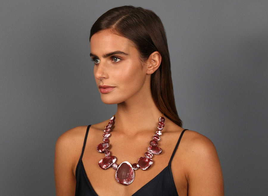 Resin Riverstone Necklace - Burgundy Swirl
